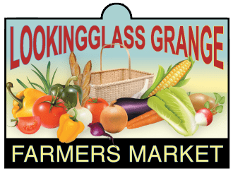 Lookingglass Grange Farmers Market sign with various vegetables.